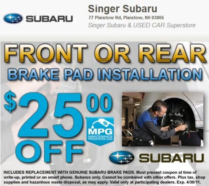 Subaru Brake Pad Service Special Manchester NH | Singer Subaru