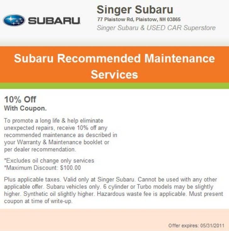 Subaru Recommended Maintenance Service Manchester NH   Singer Subaru