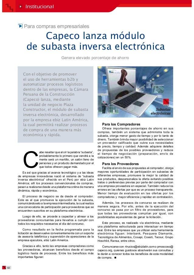 Subasta electronica CAPECO