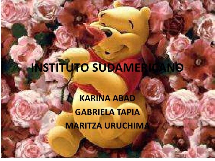 INSTITUTO SUDAMERICANO<br />KARINA ABAD<br />GABRIELA TAPIA<br />MARITZA URUCHIMA<br />