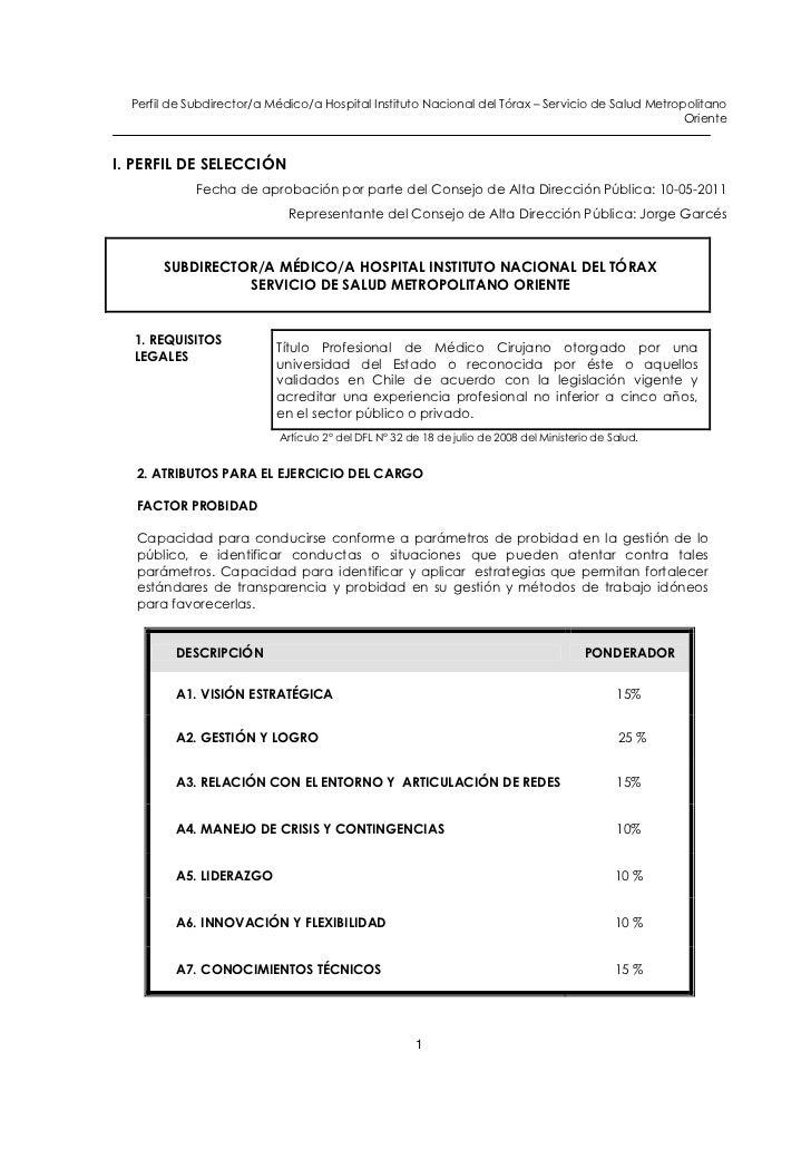 Subdirector (a) medico instituto nacional del tórax