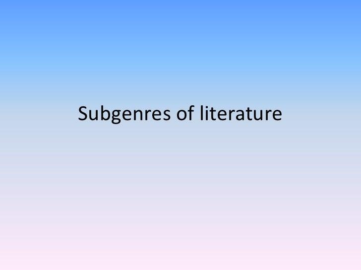 Subgenres of literature
