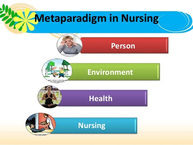 nursing metaparadigm Metaparadigms in nursing, there are four metaparadigms mentioned a metaparadigm is the world view of a discipline—the view that distinguishes the focus of a discipline (butts & rich, 2015) the metaparadigm of nursing's four concepts are person, health, environment and nursing these four concepts are related and that is what makes them a metaparadigm.