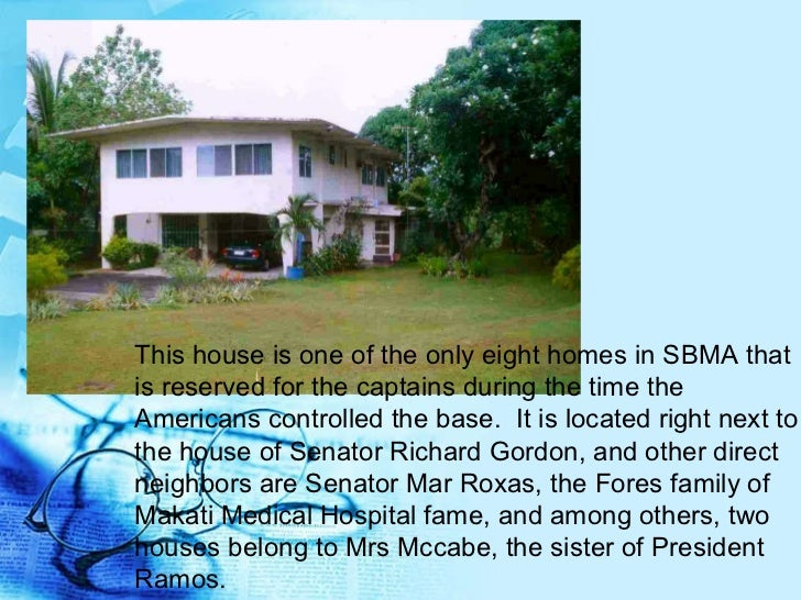 This house is one of the only eight homes in SBMA that is reserved for the captains during the time the Americans controll...