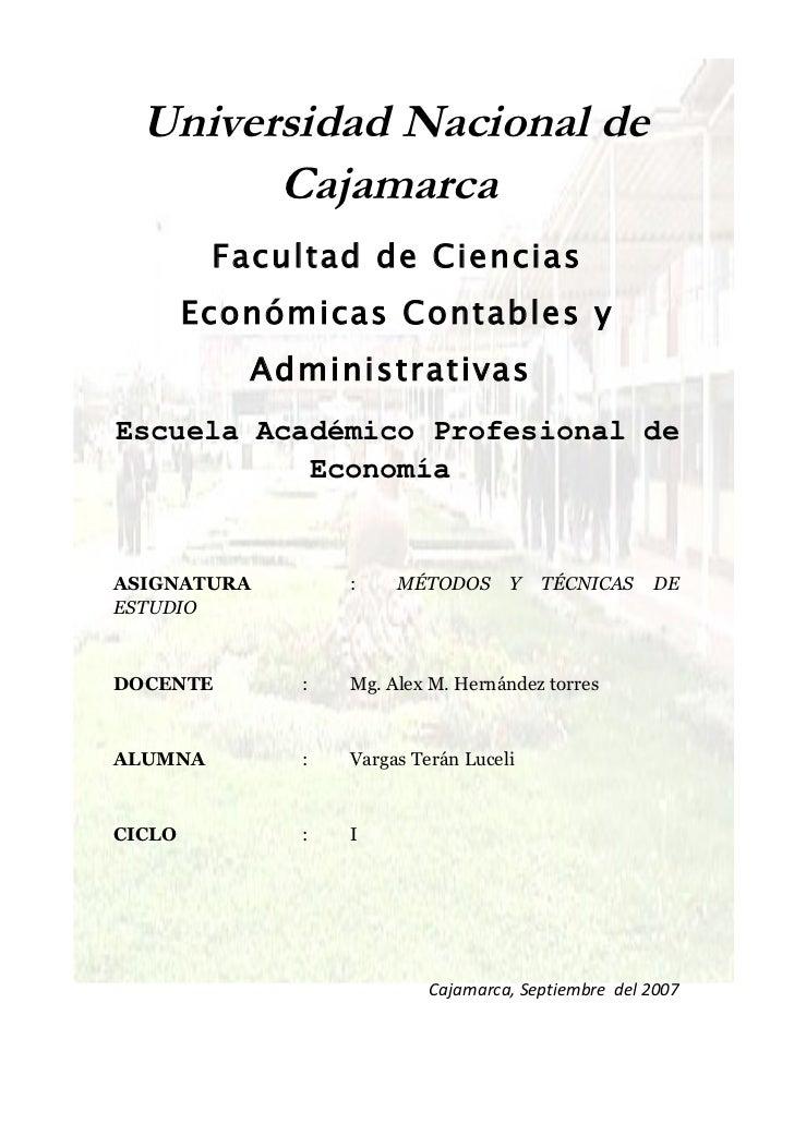 Universidad Nacional de        Cajamarca         Facultad de Ciencias        Económicas Contables y           Administrati...