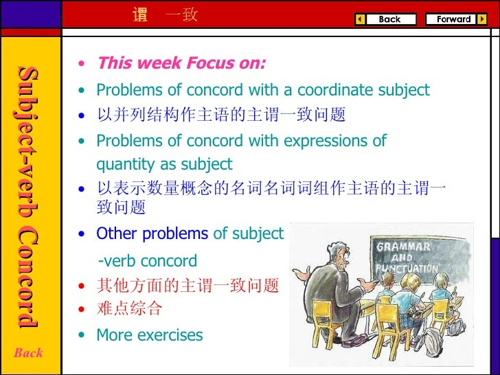 <ul><li>This week Focus on:  </li></ul><ul><li>Problems of concord with a coordinate subject   </li></ul><ul><li>以并列结构作主语的...