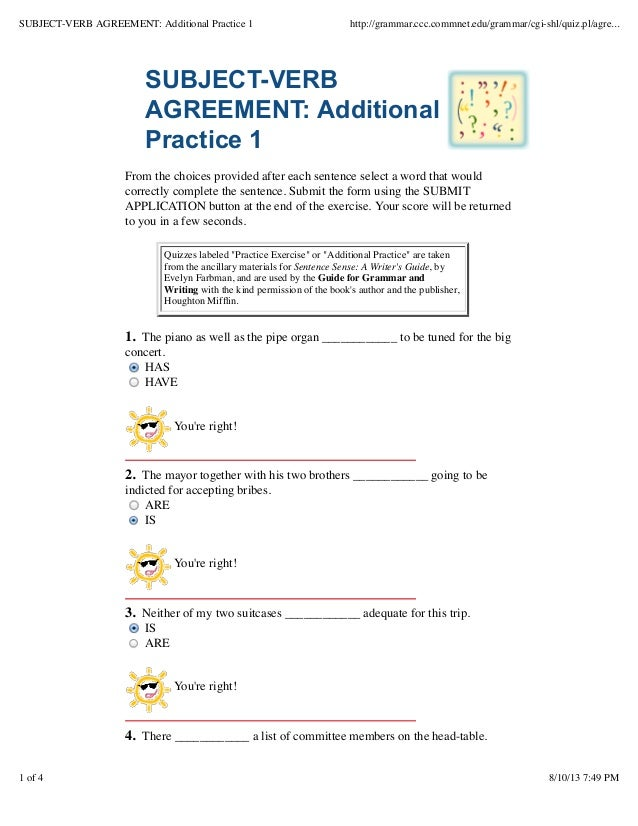 Subject Verb Agreement Additional Practice 1