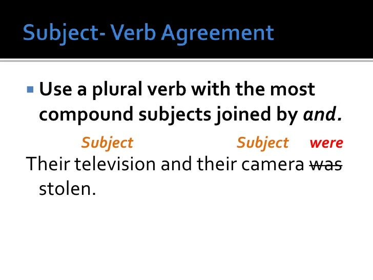 Subject verb agreement br use a plural verb with the