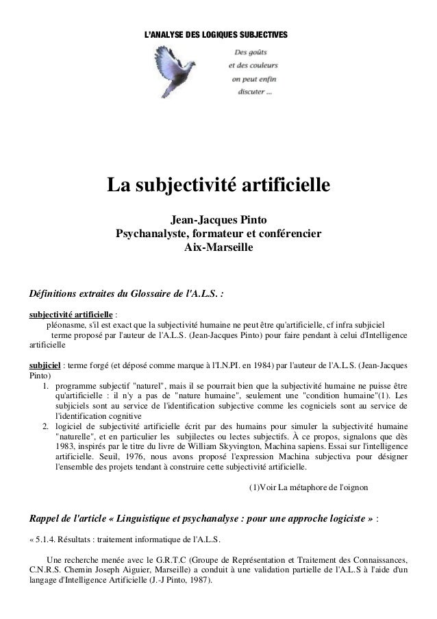 L'ANALYSE DES LOGIQUES SUBJECTIVES                      La subjectivité artificielle                                   Jea...
