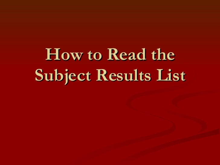 How to Read Subject Search Results