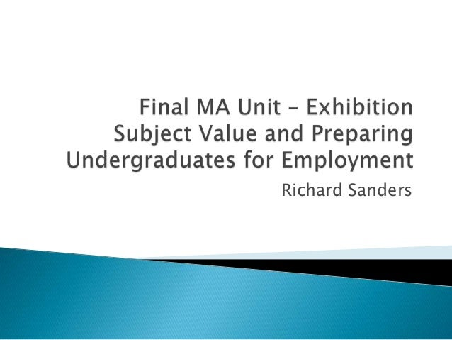MA Presentation - Subject Value and Employment