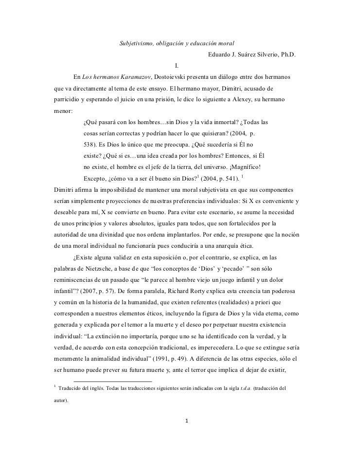 Subjetivismo etico y la obligacion moral