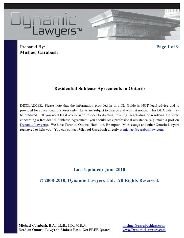 Sublet agreement residential sublease ontario