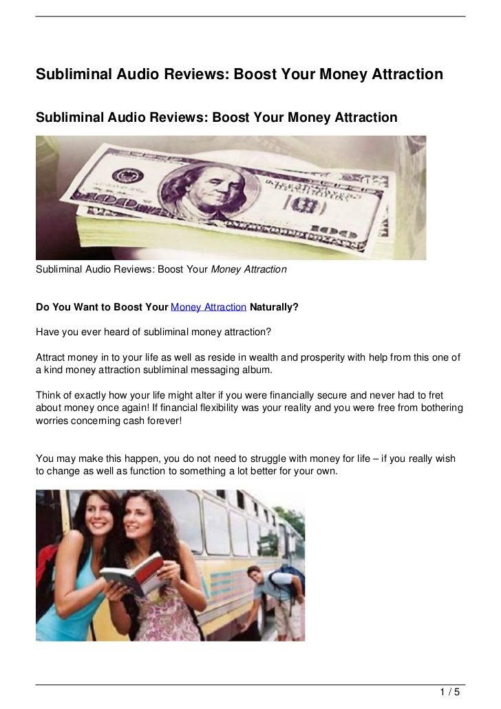 Subliminal Audio Reviews: Boost Your Money AttractionSubliminal Audio Reviews: Boost Your Money AttractionSubliminal Audio...