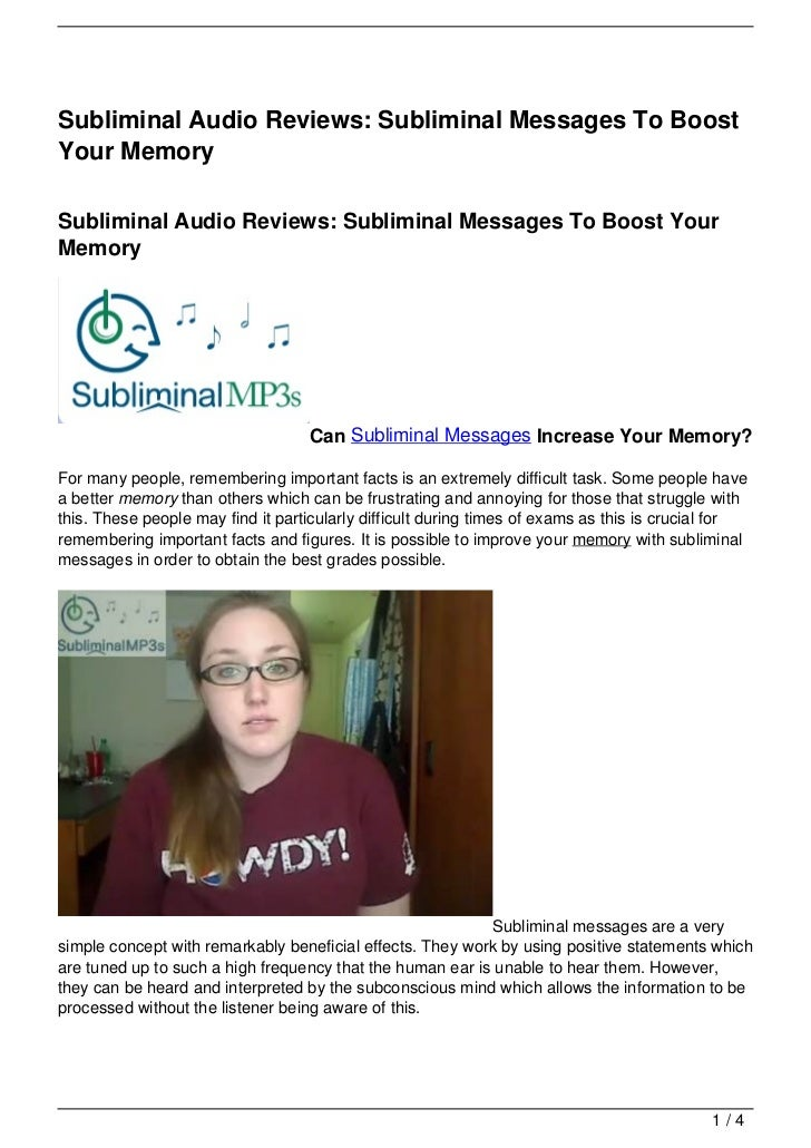 Subliminal Audio Reviews: Subliminal Messages To BoostYour MemorySubliminal Audio Reviews: Subliminal Messages To Boost Yo...