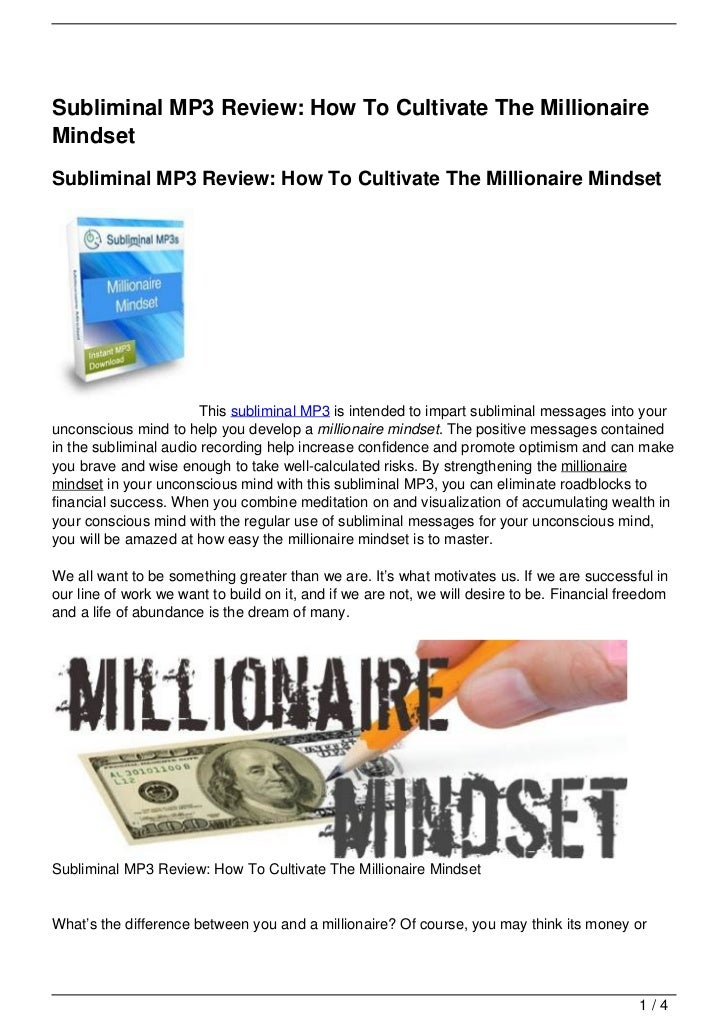 Subliminal MP3 Review: How To Cultivate The Millionaire Mindset