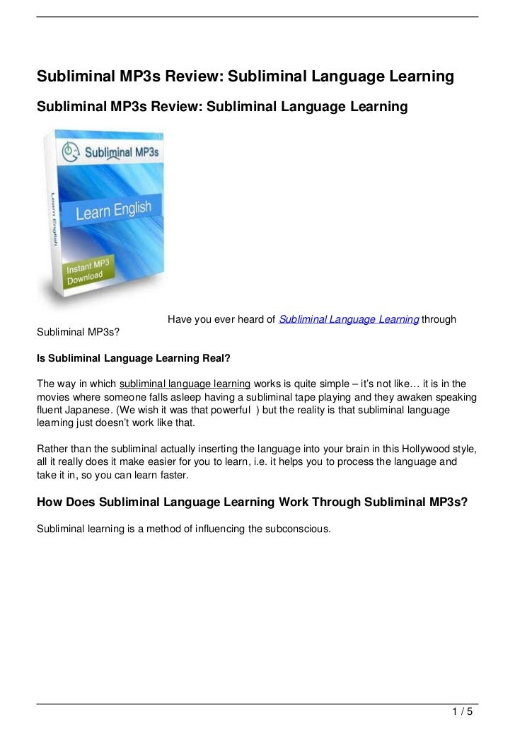 Subliminal MP3s Review: Subliminal Language LearningSubliminal MP3s Review: Subliminal Language Learning                  ...