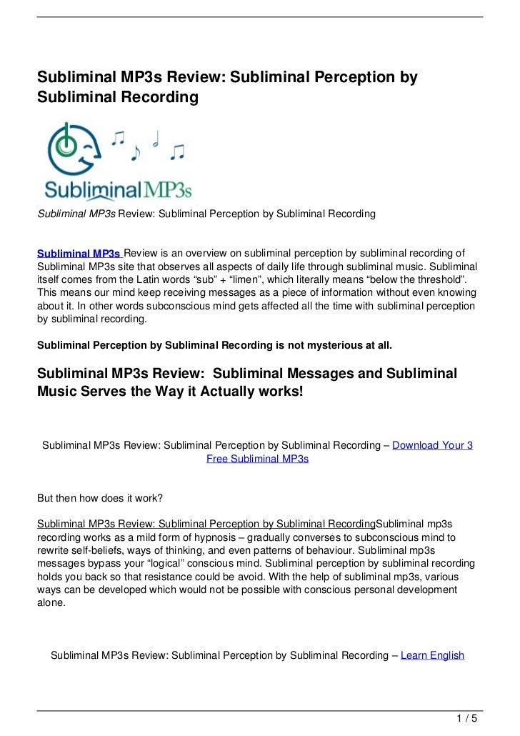 Subliminal MP3s Review: Subliminal Perception by Subliminal Recording