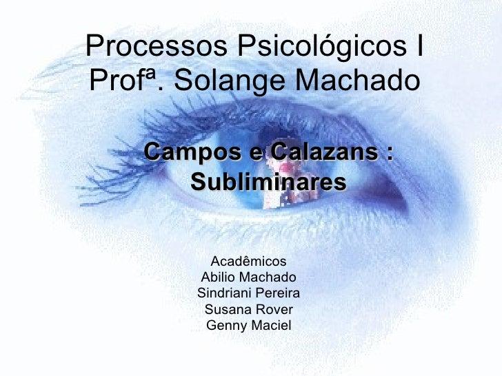 Processos Psicológicos I Profª. Solange Machado Acadêmicos Abilio Machado Sindriani Pereira Susana Rover Genny Maciel Camp...