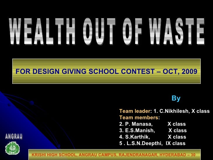Dfc2009 india wealth out of waste for Best out of waste topics
