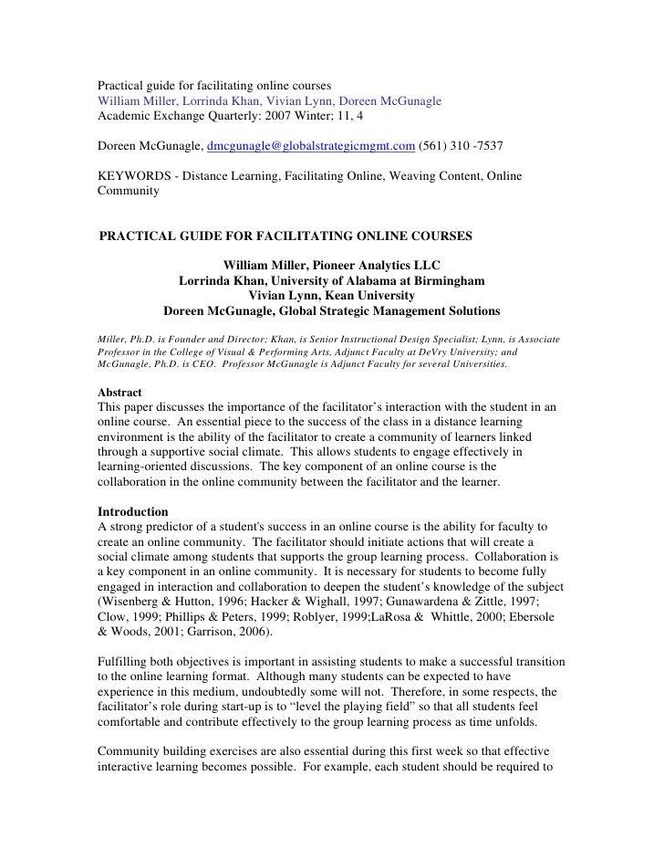 Practical guide for facilitating online courses William Miller, Lorrinda Khan, Vivian Lynn, Doreen McGunagle Academic Exch...