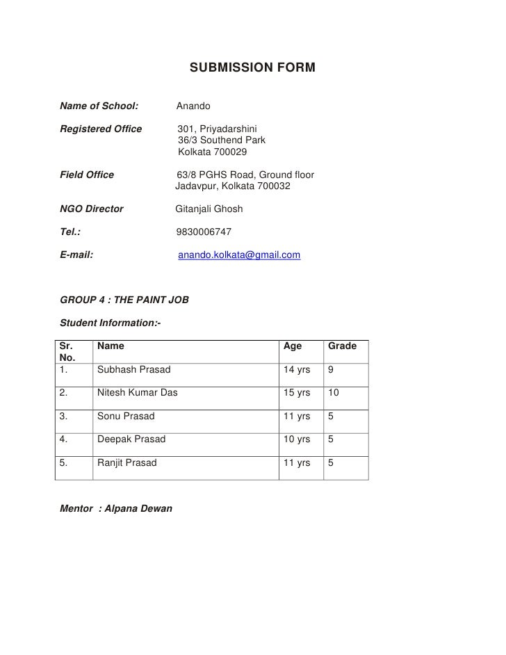SUBMISSION FORM<br />Name of School:              Anando<br />Registered Office             301, Priyadarshini<br />      ...