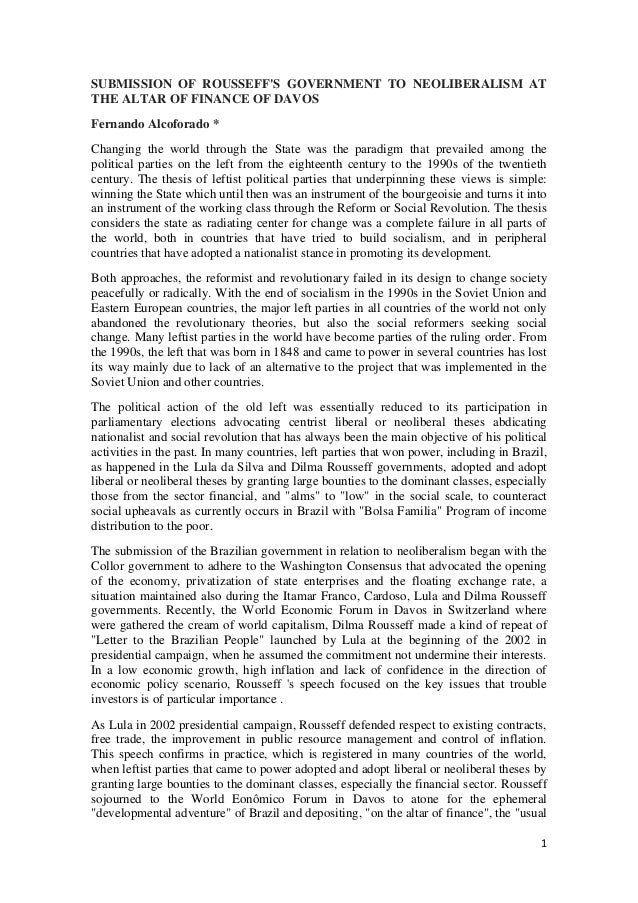 Submission of rousseff´s government to neoliberalism at the altar of finance of davos