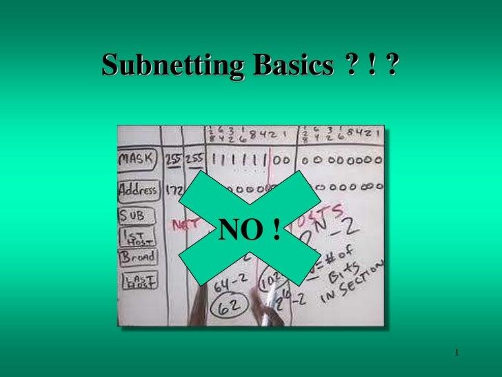 Subnetting Basics ? ! ?        NO !                          1