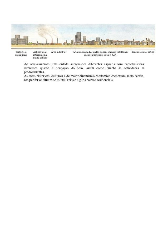 Subúrbios residenciais Antigas vilas integradas na malha urbana Área industrial Área renovada da cidade: grandes imóveis s...
