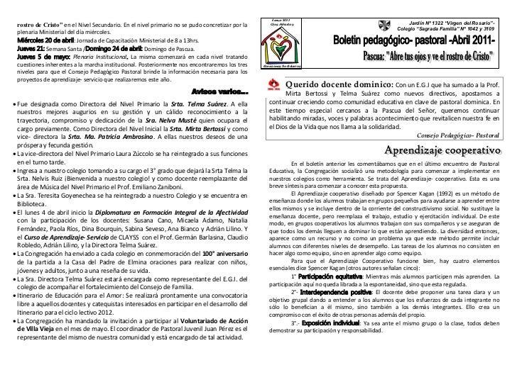 Subsidio pastoral docente mes abril 2011