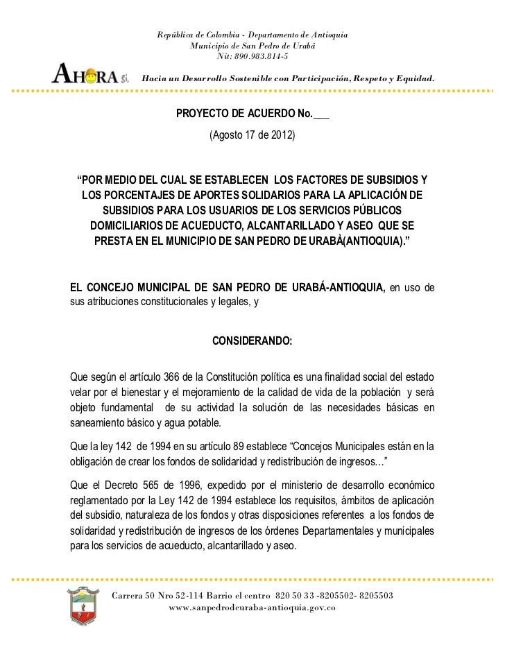República de Colombia - Departamento de Antioquia                             Municipio de San Pedro de Urabá             ...
