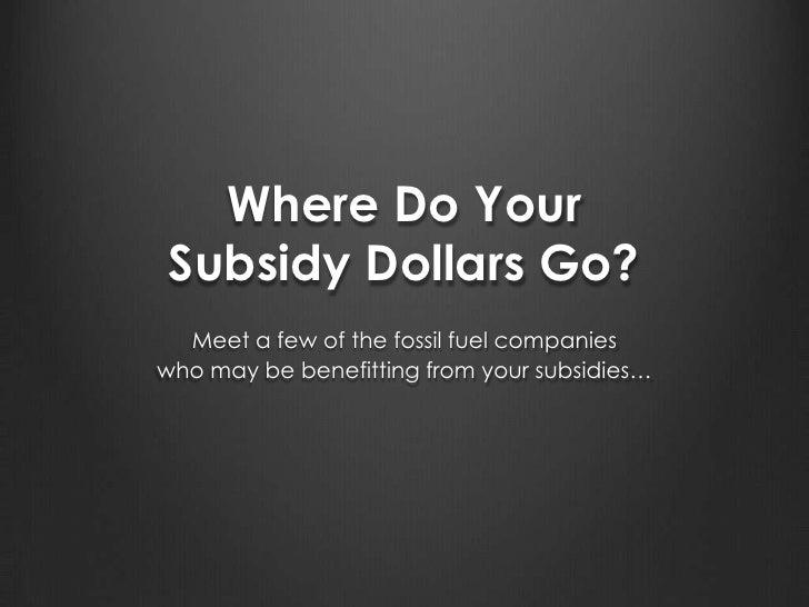 Where Do Your Subsidy Dollars Go?