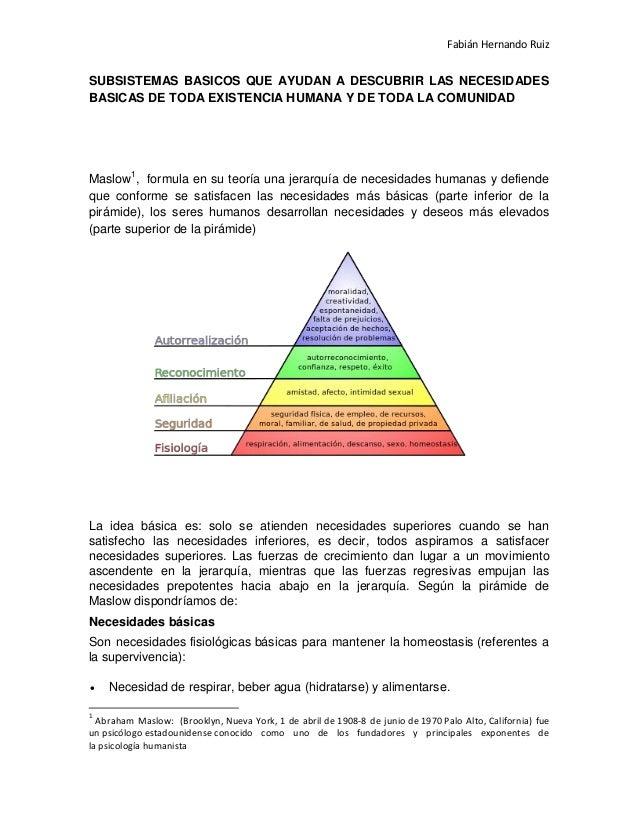 Fabián Hernando Ruiz  SUBSISTEMAS BASICOS QUE AYUDAN A DESCUBRIR LAS NECESIDADES BASICAS DE TODA EXISTENCIA HUMANA Y DE TO...