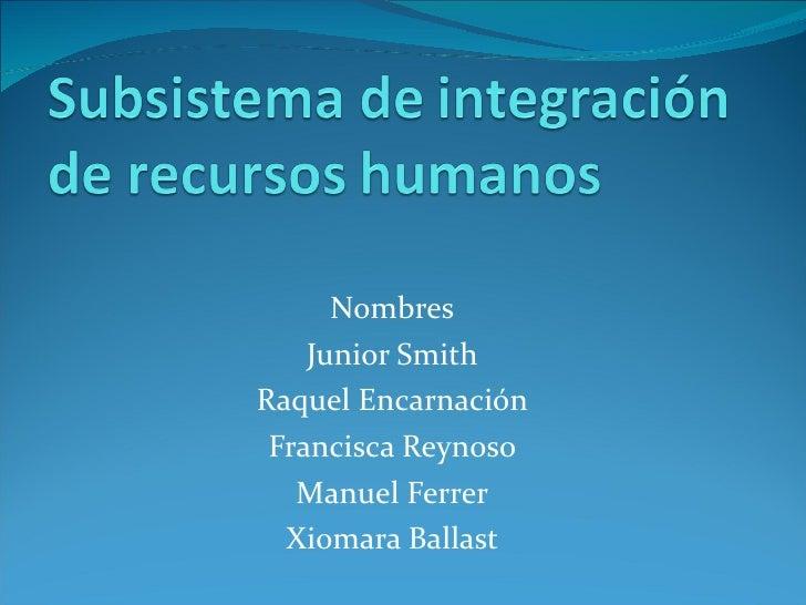Nombres Junior Smith Raquel Encarnación Francisca Reynoso Manuel Ferrer Xiomara Ballast