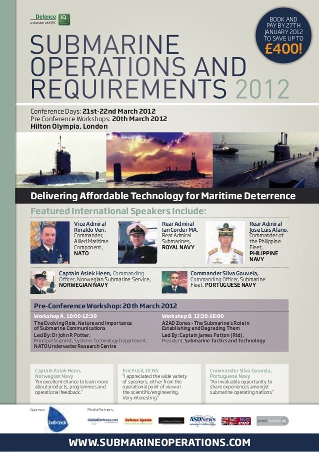 """Pre-Conference Workshop: 20th March 2012 Captain Aslak Heen, Norwegian Navy """"An excellent chance to learn more about produ..."""