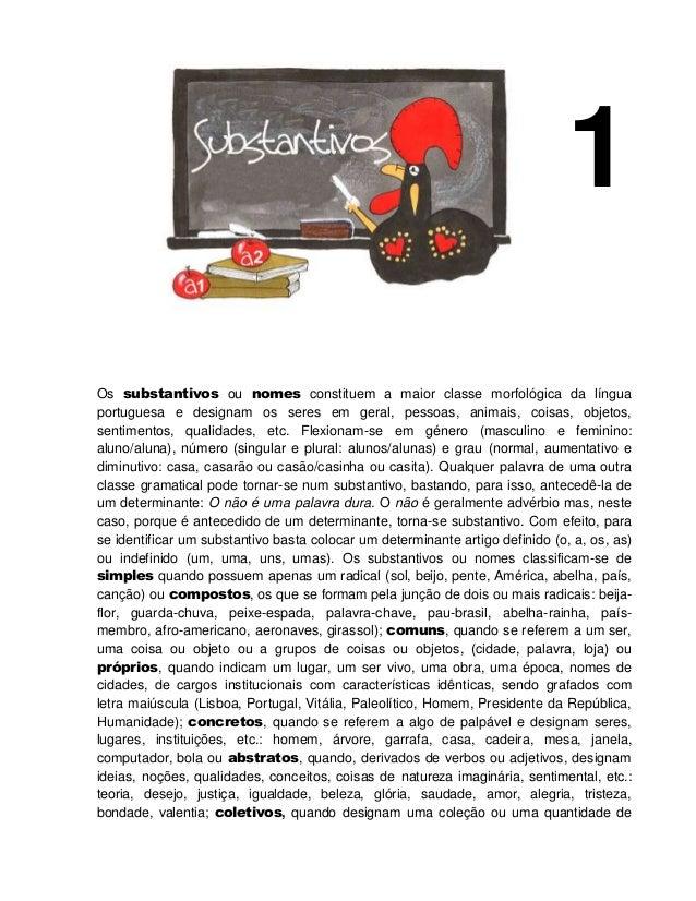 1 Os substantivos ou nomes constituem a maior classe morfológica da língua portuguesa e designam os seres em geral, pessoa...