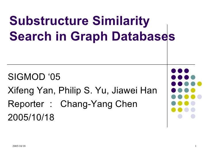 Substructure Similarity Search in Graph Databases SIGMOD '05  Xifeng Yan, Philip S. Yu, Jiawei Han  Reporter :  Chang-Yang...