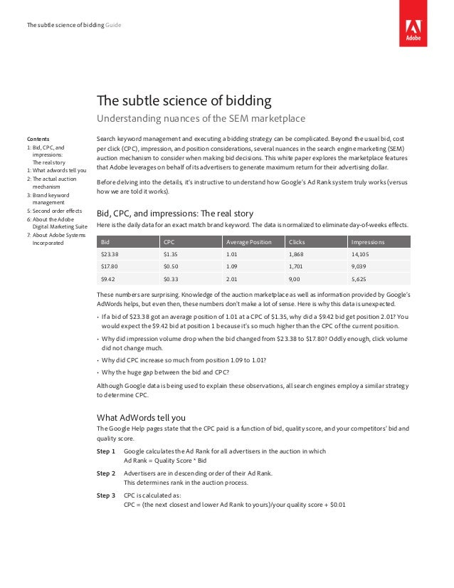 The subtle science of bidding Guide                              The subtle science of bidding                            ...