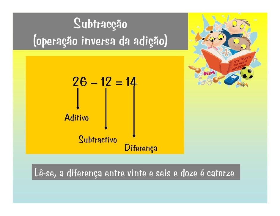Subtracção (operação inversa da adição)            26 – 12 = 14          Aditivo              Subtractivo                 ...
