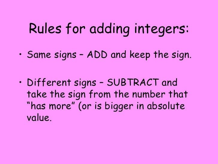 Worksheets Adding And Subtracting Integers Rules rule for adding integers add rules same signs and keep the