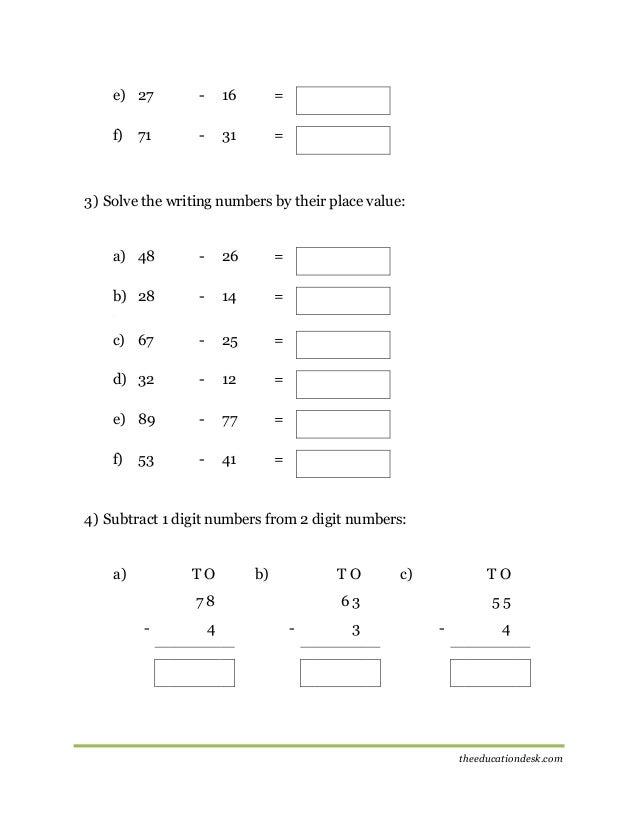 Maths: Subtraction Worksheet (CBSE Grade II )
