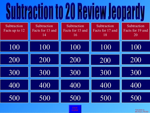 Subtraction to 20 jeopardy