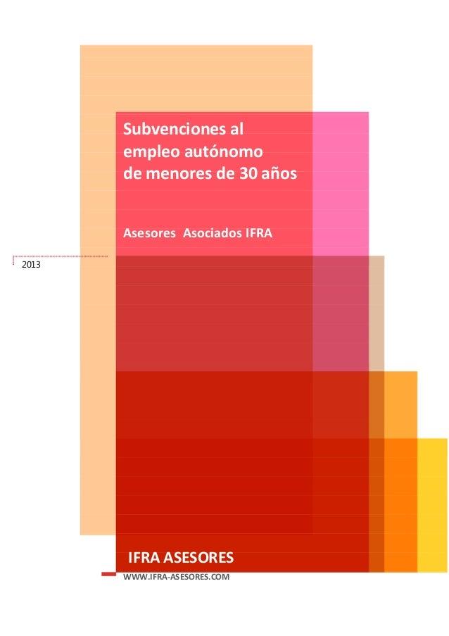 Subvenciones para autonomos menores de 30 años - Murcia  2013