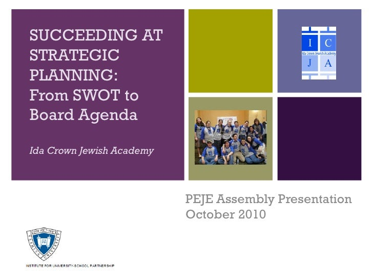 SUCCEEDING ATSTRATEGICPLANNING:From SWOT toBoard AgendaIda Crown Jewish Academy                           PEJE Assembly Pr...