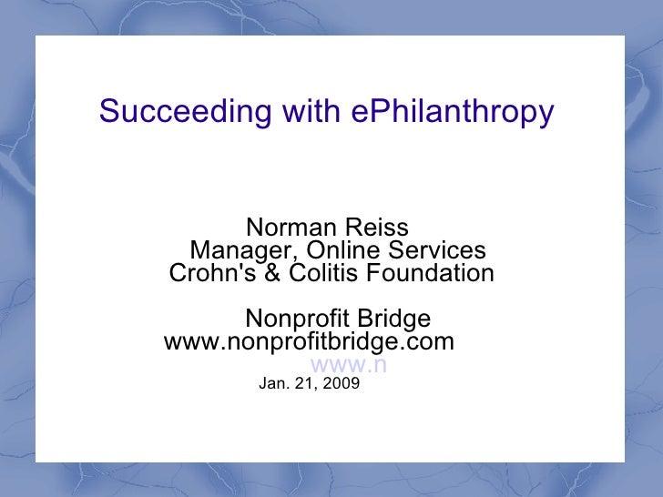 Succeeding with ePhilanthropy
