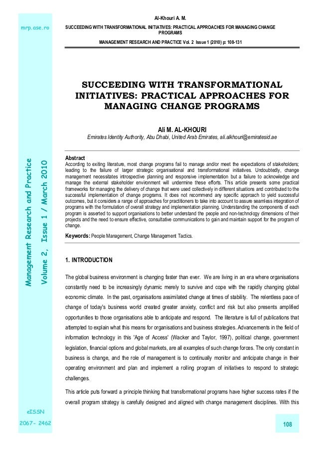 Succeeding with Transformational Initiatives: Practical Approaches for Managing Change Programs