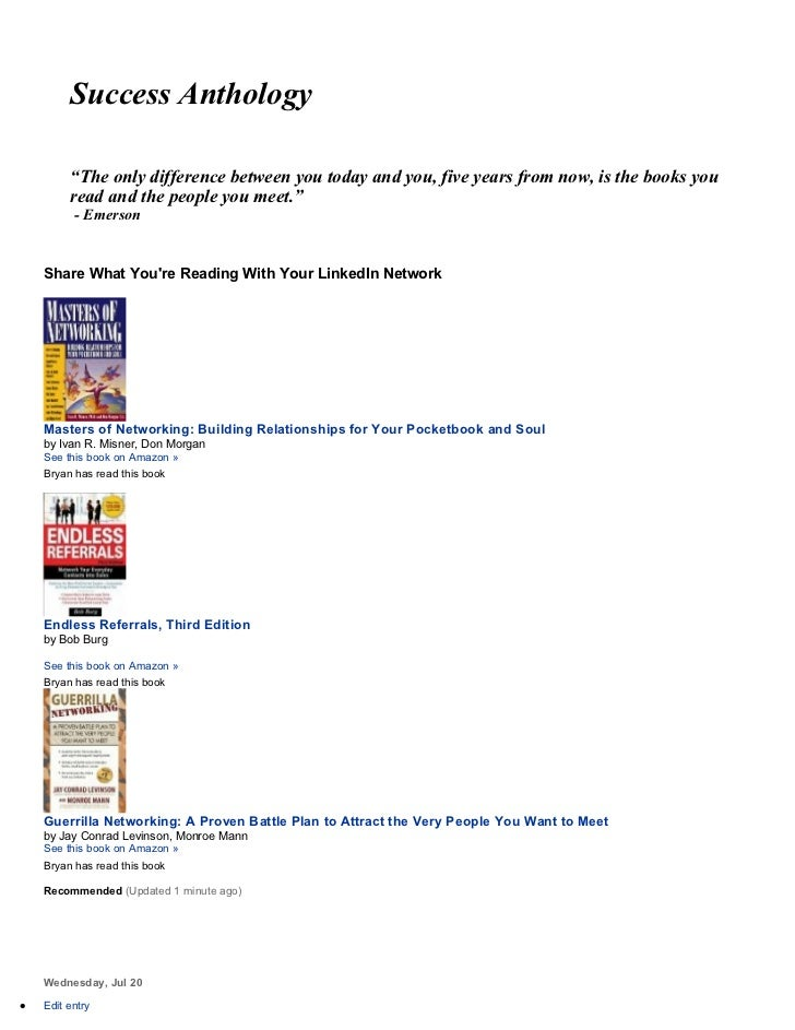 "Success Anthology         ""The only difference between you today and you, five years from now, is the books you         re..."