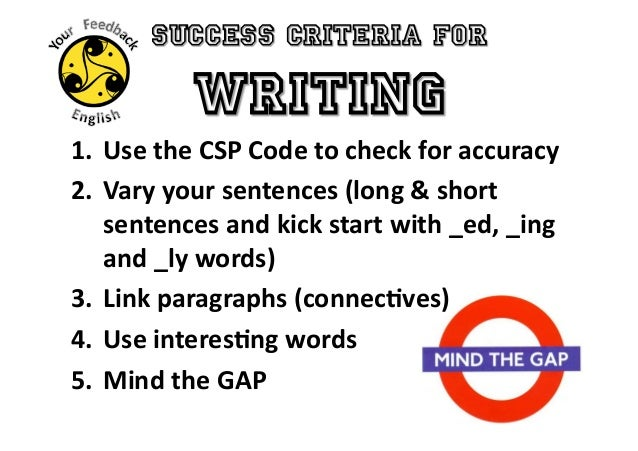 Success criteria for reading and writing
