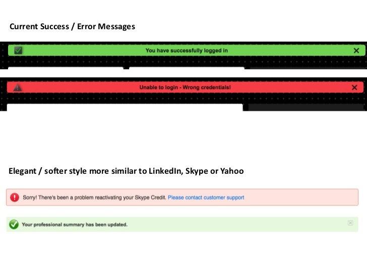 Success & error messages