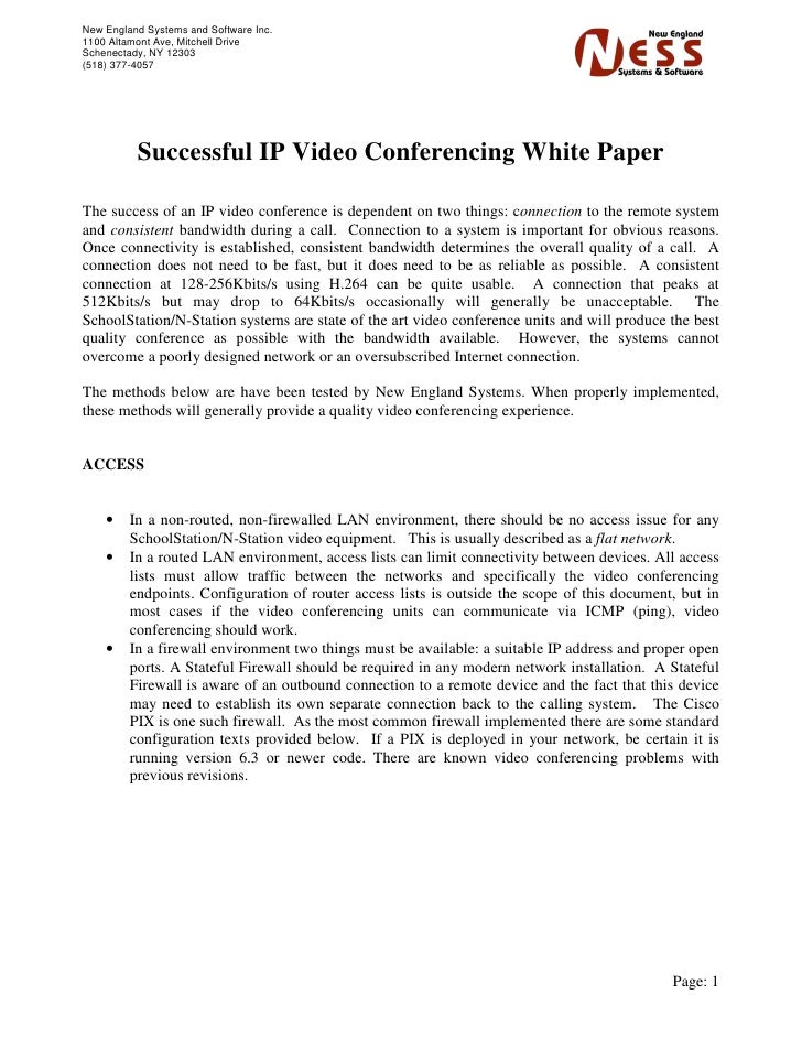 Successful IP Video Conferencing White Paper v2